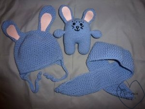 megztas šiltas minkštas mėlynas vaikiškas žiemos komplentas