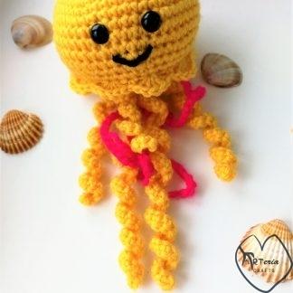 vaikiškas pliušinis žaislas medūza su saugiomis akytėmis