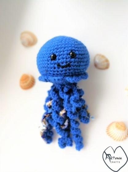 vaikiškas pliušinis žaisliukas medūza su saugiomis akytėmis